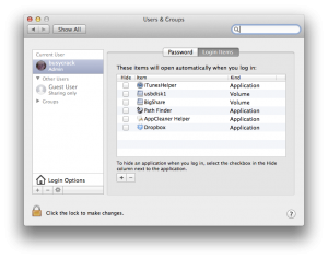 OSX Login Items (preference panel)