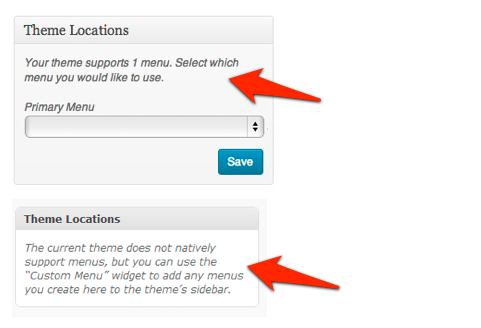 wordpress messages theme does not natively support menus.