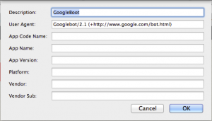 Change the user agent of browser